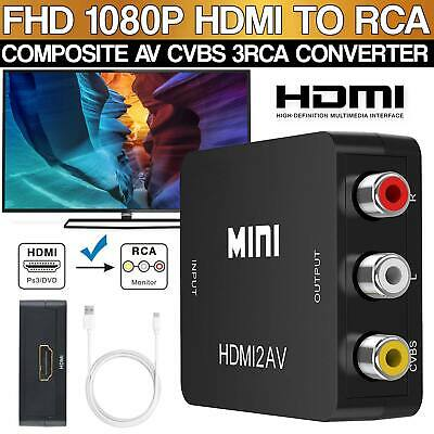 Composite HDMI to RCA Composite Video Converter 1080p Upscaler  Power Adapter