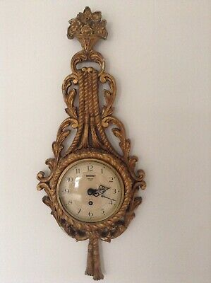 Rare Antique Vintage Smiths 8 Day Gilt Wood Cartel Wall Clock Rococo Style