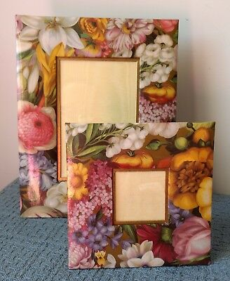 """Caspari  ~ TWO FLORAL PICTURE FRAMES ~ 7¾"""" x 9¾"""" and 5¾"""" x 5¾"""" ~ Easel Backs"""