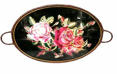 Antique Vintage Victorian Wicker Tray Huge Velvet Roses Under Glass