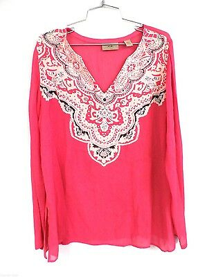 cf7ede5372a I. E. 100% Silk Embellished Beach Cover Up Cruise Wear Tunic L Hot Pink  Paisley
