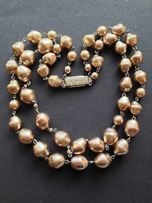 Antique Vintage Glass Baroque Taupe Double Strand Pearl Choker Necklace Beads