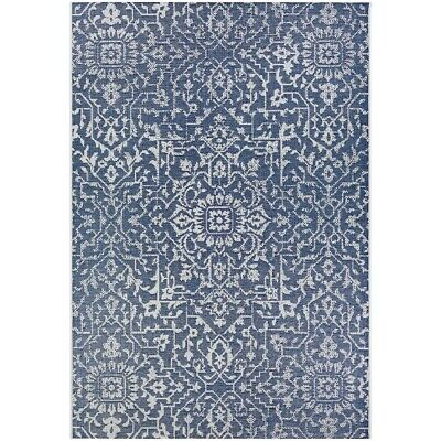 """Couristan Palmette Navy-Ivory In-Out Runner, 2'3"""" x 7'10"""" - 23296427023710U"""