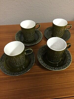 4 ea Connemara Celtic Irish Fine Earthenware Cup & Saucer Green Shamrock