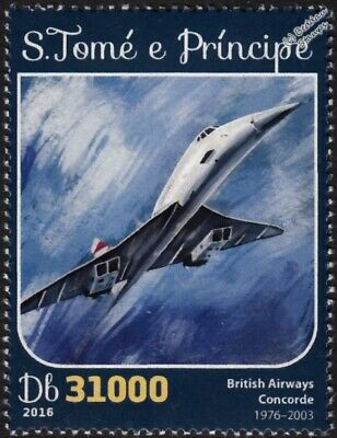 BA British Airways CONCORDE Arliner Aircraft Stamp #1 (2016 St Thomas & Prince)