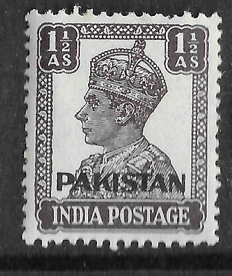 PAKISTAN; 1947 early India GVI Optd. issue MH 1 1/2a. value  - see scan