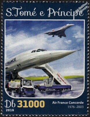 Air France CONCORDE Airliner Aircraft Stamp (2016 St Thomas & Prince)