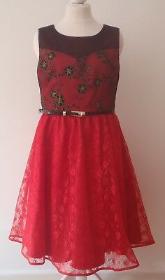 Girls red black gold lace prom party dress age 9-10 years