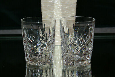 Pair (2) Waterford Lismore Double Old Fashioned Glasses Made in Ireland