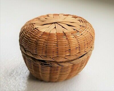 Vintage Miniature Round Sweetgrass Basket With Cover