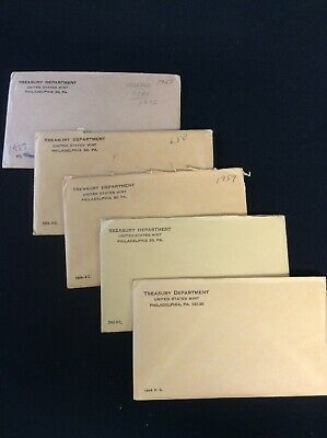 5) U.S. Mint Proof Coin Sets ~90% Silver Coins~1957-59 1961 & 1964 $4.55 Face