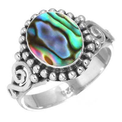 Natural Abalone Shell Women Jewelry 925 Sterling Silver Ring Size 10.5 uC63952