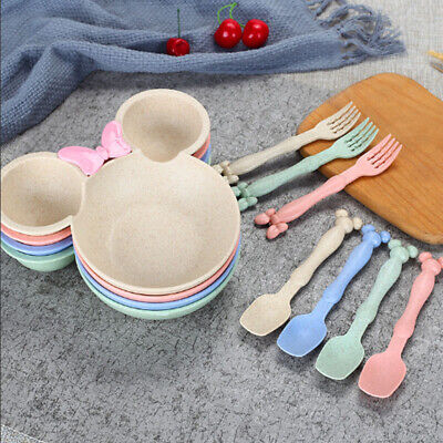 Children Food Cartoon Dishes Wheat Straw Baby Bowl Dinnerware Set Dining Plate