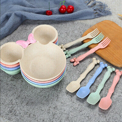 Wheat Straw Baby Bowl Dinnerware Set Children Food Cartoon Dishes Dining Plate