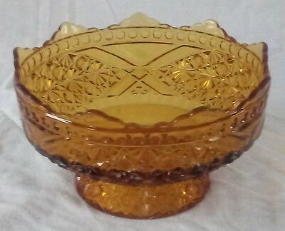 EAPG DAISY & BUTTONS w/ CROSSBARS Richards & Hartley~US Glass AMBER Footed Bowl
