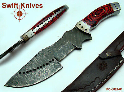 Hand Forged Damascus Steel Full Tang Tracker Knife - Hard Wood - PO-5024-1