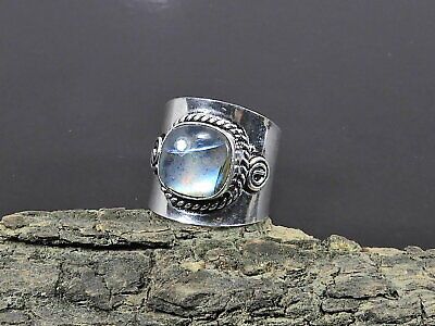 925 Sterling Silver Stackable Ring Natural Labradorite Gemstone Jewelry SR12