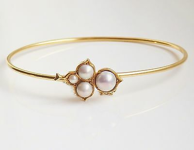 Fine Antique Edwardian Arts & Crafts 15ct Gold Pearl Cluster Bangle c1910