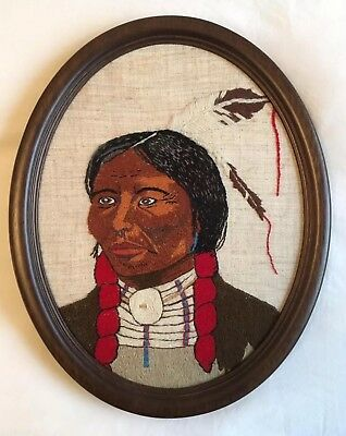 VINTAGE Retro NEEDLEPOINT Embroidered Native American Woman Girl PICTURE Framed