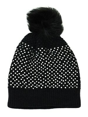Ladies Diamante Knitted Winter Beanie Hat with Glitter /& Large Faux Fur Pompom