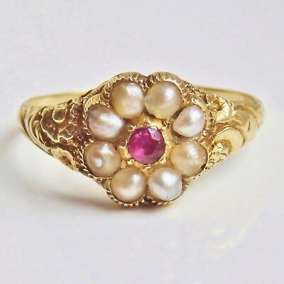 Fine Antique Georgian Regency Period 15ct Gold Ruby & Pearl Cluster Ring c1825