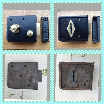 Vintage~Reclaimed~Heavy Duty~Lockable~Rim /Door Latch Lock & Keep~Seller Refurb