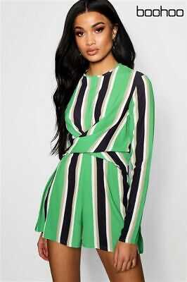Womens Ladies Boohoo Striped Twist Front Playsuit Sizes 10 /& 12 RRP £24
