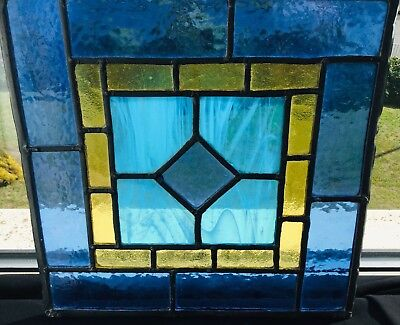 Stunning Hand-Made Turquoise Stained Glass Panel