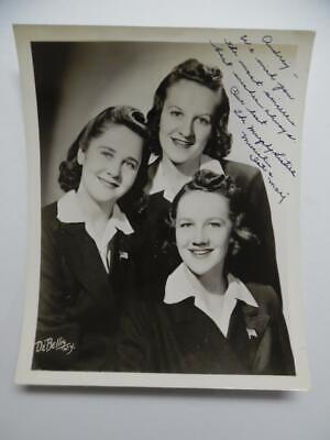 1942 THE MURPHY SISTERS Signed Inscribed Photo Vocalist Trio Muriel Dot Marge