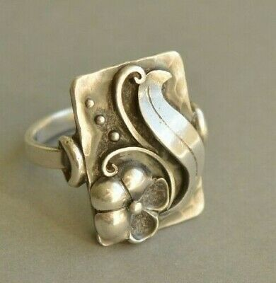 Large Art Deco Vintage German Handcrafted 900 Solid SILVER Floral Ring BEAUTIFUL