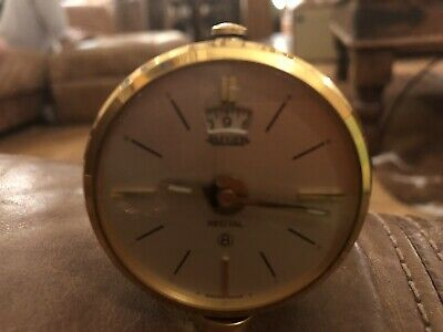 Cased Vintage Swiss Made Jaeger Recital 8 Day Travel/Alarm Clock G.W.O.