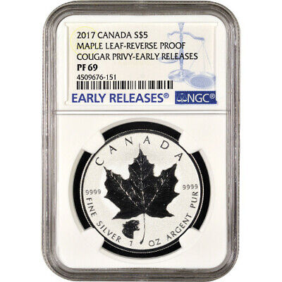 2017 1 oz Cougar Privy Canadian Silver Maple Leaf Reverse Proof Coin NGC PF69 ER