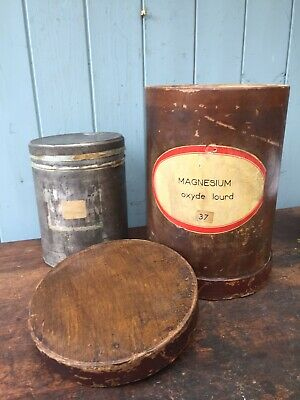 Antique Wooden Apothecary Jar Box Storage Container Haberdashery French Tin