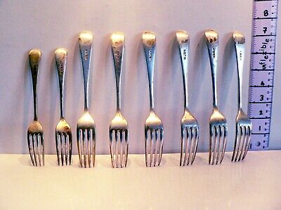 "Eight Vintage EPNS Heavy Forks Silver Plate 7.5"" and 6.5"" Matching Pattern"