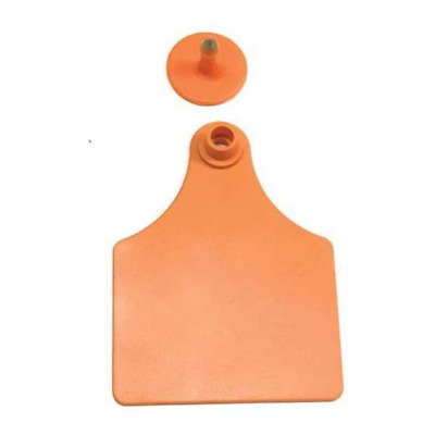 100x Cattle Ear Tags Set | 7x10cm Blank Orange Cow Sheep Large Livestock Label