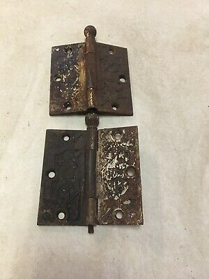 "Antique Vintage 2 Eastlake Victorian Brass Heavy Door Hinges 4""x4"""