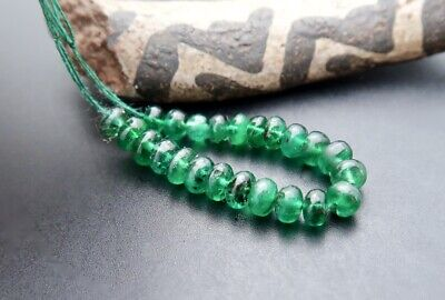 STUNNING GEM GRADE AAAAA+ BRAZILIAN EMERALD 2.9-3.6mm BEADS 3.95cts