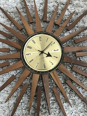 Vintage MCM Seth Thomas Starflower Wall Clock Starburst Teak Brass
