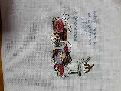 Completed Cross stitch - What Happens at Grandma's stays at Grandma's