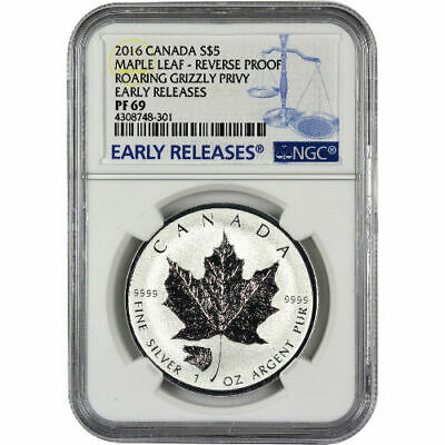 2016 1 oz Grizzly Privy Canadian Silver Maple Leaf Reverse Proof NGC PF69 ER