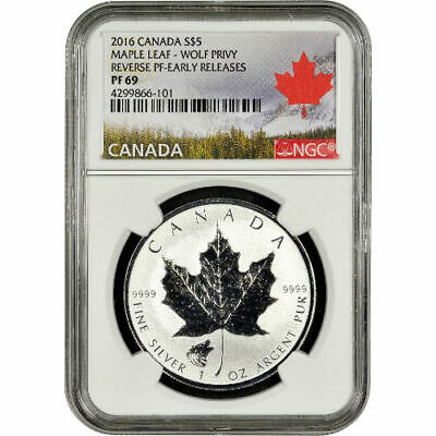 2016 1 oz Wolf Privy Canadian Silver Maple Leaf Reverse Proof Coin NGC PF69 ER
