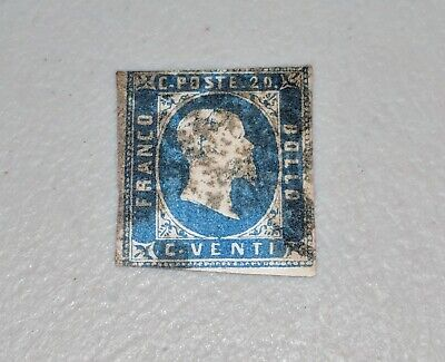 Stamp Pickers Sardinia 1851 Imperf King Victor Emmanuel II 20c Scott #2 FU $300+