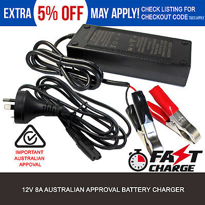 NEW 12 VOLT 12V 8A 8 AMP DEEP CYCLE AGM GEL WET AUTO Car 4WD BATTERY CHARGER AU