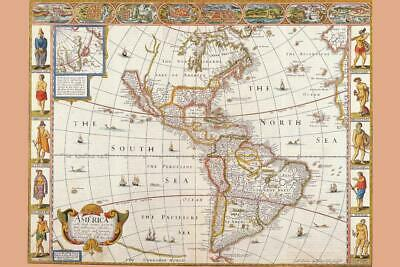 Antique Map of the New World 1626 inch Poster 24x36 inch