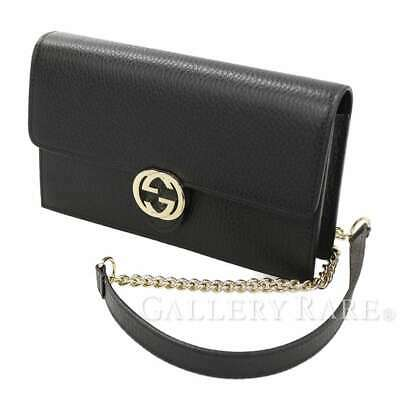 4eb0429dcf5e GUCCI Chain Wallet Leather Black 510314 Wallet Crossbody Italy Authentic  5355532
