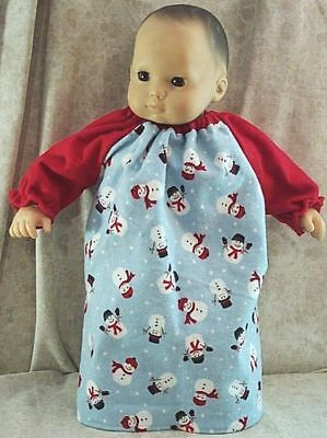 Blue Christmas Snowman Bunting Doll Clothes Made ToFit American Girl Bitty Baby