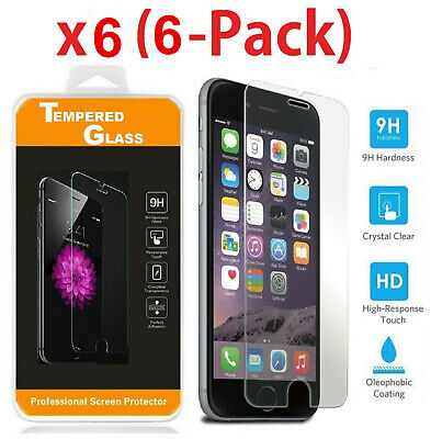 (6-Pack) Premium Screen Protector Tempered Glass Film For iPhone 7 8 Plus Xs Max