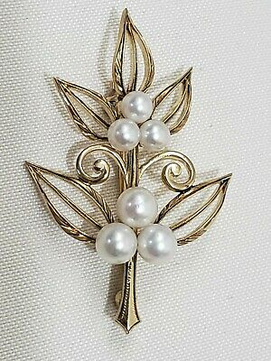 Mikimoto 14K Yellow Gold Pearl Leaf Brooch Pin  6.1 Grams Vintage Hand Etched