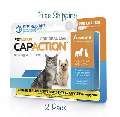 PetAction CapAction for Dogs Cats 2-25lbs Flea Treat 6Tablets 2 Pack! Free Ship