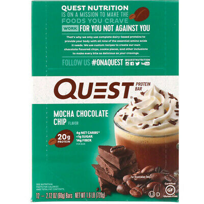 Quest Nutrition, Protein Bar, Mocha Chocolate Chip, 12 Bars, 2.12 oz (60 g) Each